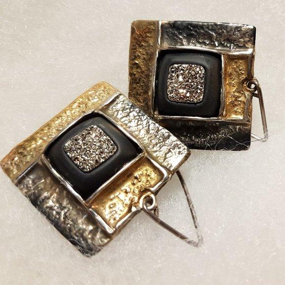 Amber Beata Earrings Black Gold Silver